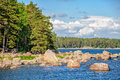 Landscape with islands in finland gulf Royalty Free Stock Photo