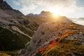 Landscape Italy, Dolomites - sunrise behind the huge rocks