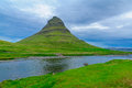 Landscape and the kirkjufell mountain x church x in snaefellsnes peninsula west iceland Royalty Free Stock Images