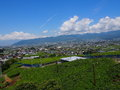 Landscape of kofu basin in yamanashi japan is located the central part prefecture the average altitude is meters fruits such as Stock Photos