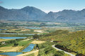 Landscape of lagoons and vineyards from gydo pass south africa Royalty Free Stock Photography