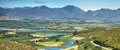 Landscape of lagoons and vineyards from gydo pass south africa Stock Image