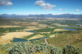 Landscape of lagoons and vineyards from gydo pass south africa Royalty Free Stock Photo