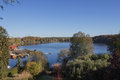 Landscape with lake in autumn Stock Image