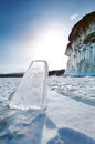 Landscape of lake baikal in winter Royalty Free Stock Images