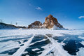 Landscape of lake baikal in winter Stock Image