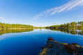 Landscape lake in finland spring in karelia Stock Photography