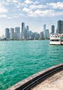 Landscape of lake Michigan and Chicago downtown Royalty Free Stock Photo
