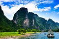 Landscape of li jiang the boat trip on the lijiang river in holiday Stock Image