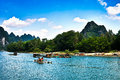 Landscape of li jiang the boat trip on the lijiang river in holiday Royalty Free Stock Image