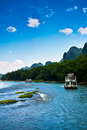 Landscape of li jiang the boat trip on the lijiang river in holiday Stock Photo