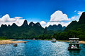 Landscape of li jiang the boat trip on the lijiang river in holiday Royalty Free Stock Photos