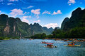 Landscape of li jiang the boat trip on the lijiang river in holiday Royalty Free Stock Photo