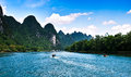 Landscape of li jiang lijiang river from guilin to yangshuo Royalty Free Stock Image