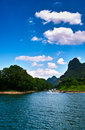 Landscape of li jiang lijiang river from guilin to yangshuo Royalty Free Stock Photo
