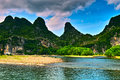 Landscape of li jiang river and mountains Stock Photo