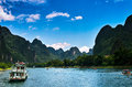 Landscape of li jiang river and mountains Royalty Free Stock Photo