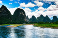 Landscape of li jiang river and mountains Royalty Free Stock Image