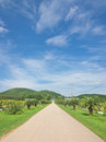 Landscape of local road under blue sky photograph at loei province northern thailand Stock Photo