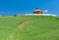 Landscape with lonely ukrainian house rural on a hill Stock Photography