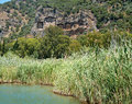 Landscape of Lycian rock cut tombs at Dalyan, Turkey Royalty Free Stock Photo