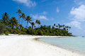 Landscape of of maina island in aitutaki lagoon cook islands beautiful beach on Stock Image