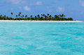 Landscape of of maina island in aitutaki lagoon cook islands view from the sea Stock Photos
