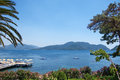 Landscape of Marmaris Bay, Turkey, with beach dock Royalty Free Stock Photo