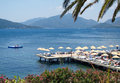 Landscape of Marmaris Gulf, Turkey, with beach dock Royalty Free Stock Photo
