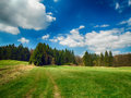 Landscape with meadows and trees hdr blue sky Stock Images