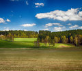 Landscape with meadows and trees hdr blue sky Royalty Free Stock Photography