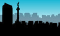 Landscape of Mexico city silhouettes Royalty Free Stock Photo