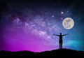 Landscape with Milky way galaxy. Night sky with stars, moon and Royalty Free Stock Photo