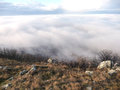 Landscape in the mist view of czech republic Stock Photo