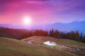 Landscape of morning twilight in the spring mountains. Royalty Free Stock Photo