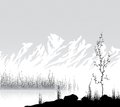 Landscape with mountain range near lake vector illustration Stock Images