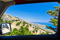 Landscape, mountains and sea at south side of Crete island Stock Photo