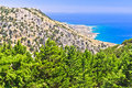 Landscape, mountains and sea at south side of Crete island Stock Photos