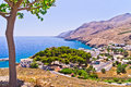 Landscape, mountains and sea at south side of Crete island Royalty Free Stock Images