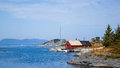 Landscape Norway Floro Bay Sea Water Fishers House with Boat Royalty Free Stock Photo
