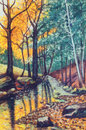 Landscape oil painting with river in autumn forest Royalty Free Stock Photo