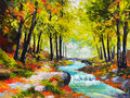 Landscape oil painting - river in autumn forest Royalty Free Stock Photo