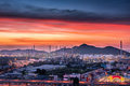 Landscape of oil refinery plant and city at twilight scene. Royalty Free Stock Photo