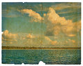 Landscape on old paper Stock Photos
