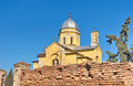 Landscape of an old yellow church and wall at gardos zemun red bricks the quarter serbia the is constructed in Royalty Free Stock Photography
