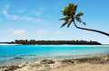 Landscape of one foot island in aitutaki lagoon cook islands view Stock Photos