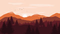 Landscape with orange and red silhouettes of mountains and hills
