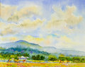 Landscape original painting  family fitness by ride bicycle and run Royalty Free Stock Photo