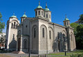 Landscape of Orthodox Church of the Ascension in Belgrade, Serbia Royalty Free Stock Photo
