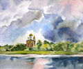Landscape with Orthodox Church and lake.